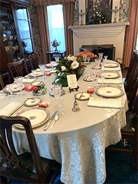 Ranch House dining room set for Christmas dinner
